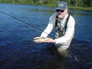 Jim Thibodeau Catching Brown Trout on the Kennebec River