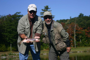 Tom Rosenbauer and Jerry Conlee caught this rainbow on a dragonfly nymph