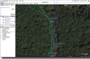 The blue line shows the path that the author took as he explored the watershed