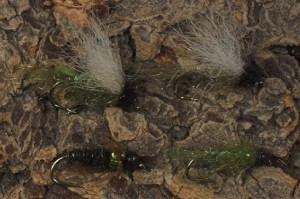Everfloat Caddis Emerger Fly in olive and tan (above) and Glass House Caddis and Olive Ultra Zug Flies (Bottom)