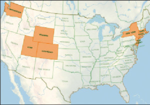 States that stock tiger trout are in orange