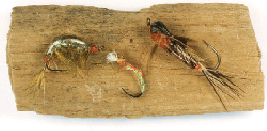 Flies(L to R): Scud Fly, Buzzer Fly, Brown Drake Nymph Fly