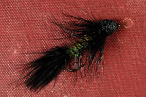Black-and-Olive Mudd-Bugger fly
