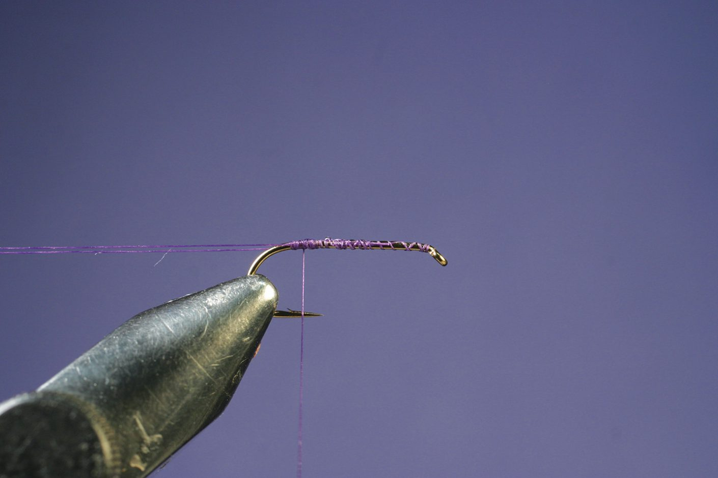 Attaching thread to hook on Purple PFD Parawulff fly