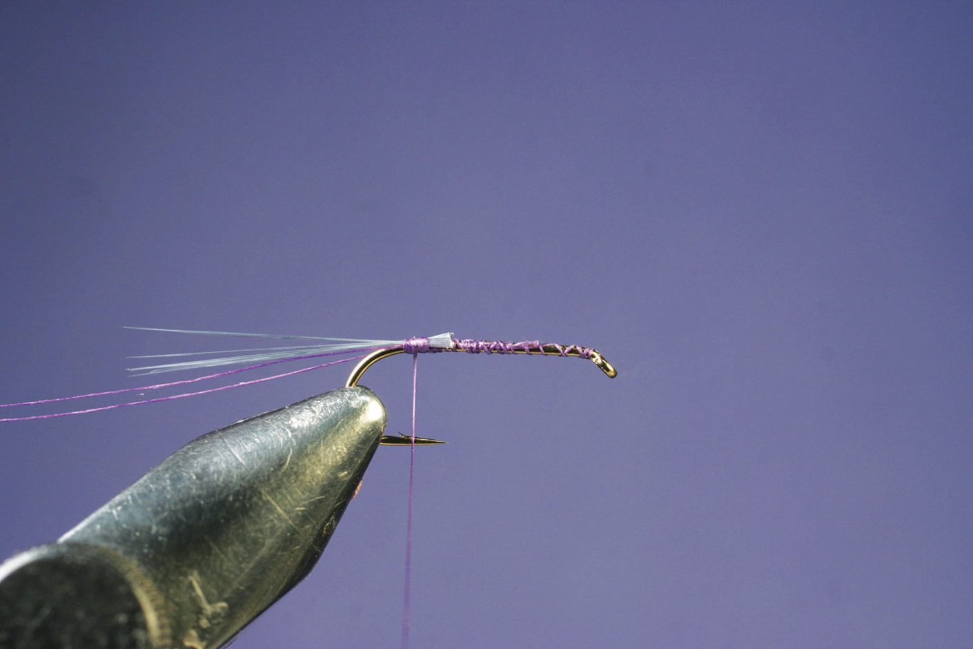 Attaching microfibetts to Purple PFD Parawulff fly