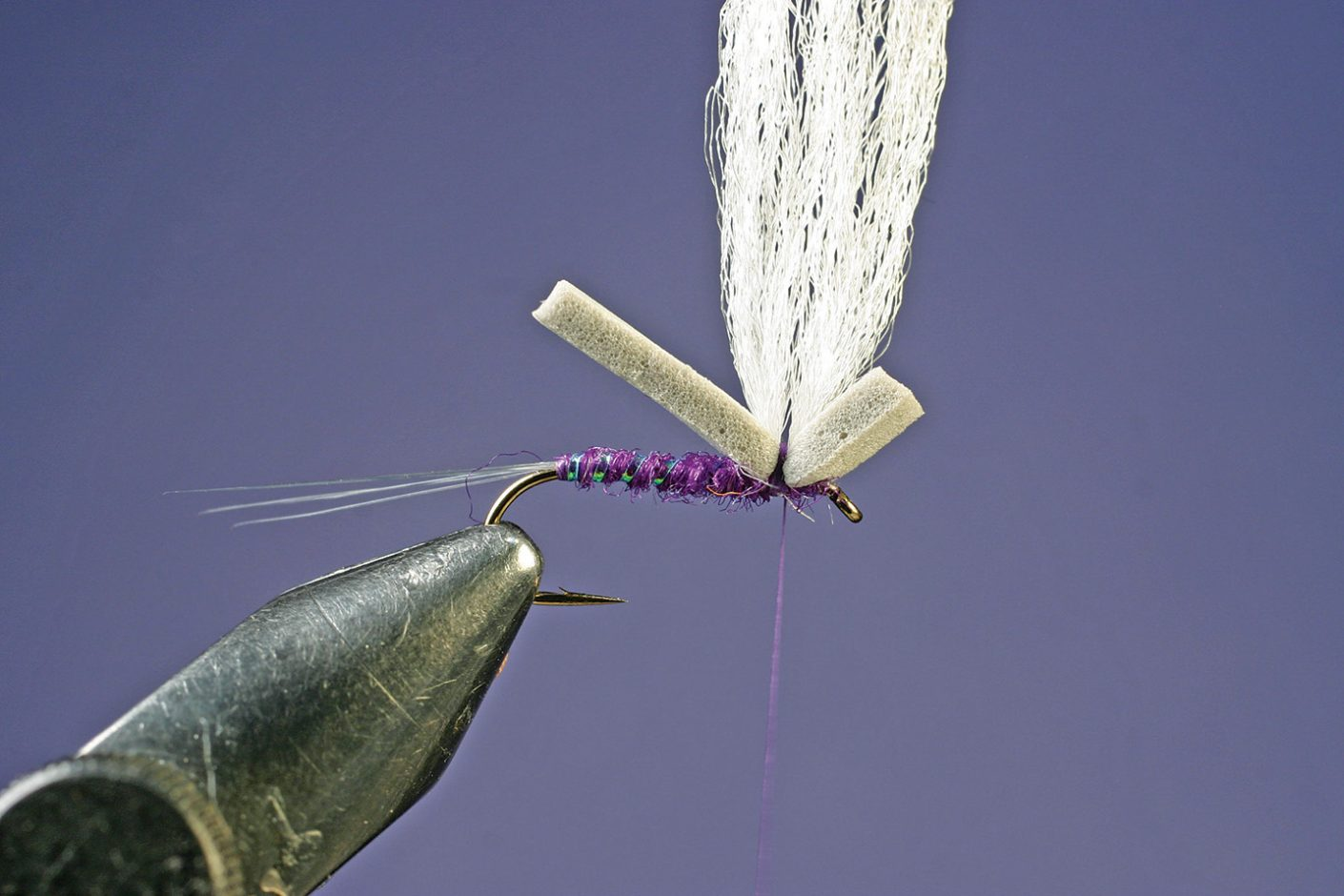 Add polypropylene yarn to Purple PFD Parawulff fly