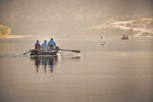 people fishing and rowing in boat